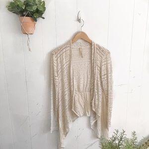 Open Knit Oatmeal Crochet Lace Cardigan!